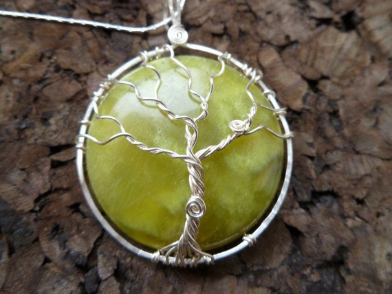 Olive Jade with Wire Tree Pendant and Sterling Silver Chain