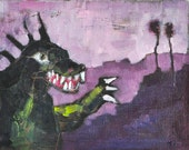 Monster Menacing the San Diego Suburbs- Oil Painting