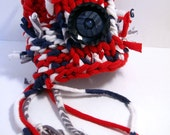 RipTie Patriotic Knit Cuff Bracelet - OOAK - Handmade and Knit from Upcycled Recycled Fabric Yarn Blend by RipTieKnits