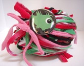 RESERVED FOR TWISTEDKNITSISTERS 40 yds. Watermelon RipTie - Handmade Upcycled Recycled Fabric Yarn Blend by RipTieKnits