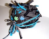 RESERVED FOR TWISTEDKNITSISTERS - 40 yds. Black Turquoise  Sparkle Specialty Blend RipTie  - Handmade Upcycled Recycled Fabric Yarn Blend