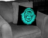 Ape Gorilla Scrap Tillow Throw Pillow by RipTieKnits - Handmade Decorative Toss Pillow from Upcycled Recycled Repurposed Fabrics