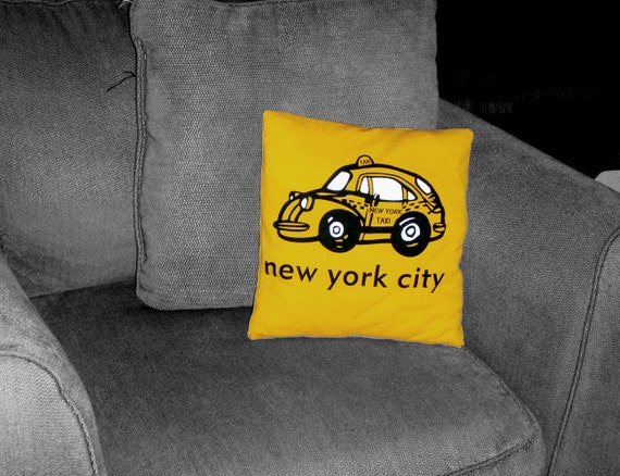 NYC Cab Taxi Scrap Tillow Throw Pillow by RipTieKnits - Handmade Decorative Toss Pillow from Upcycled Recycled Repurposed Fabrics
