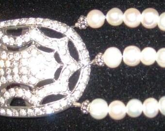 Antique Rhinestone Buckle Bracelet w/pearls