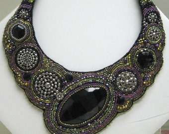 Beaded Black Glass and Antique Steel Buttons Collar