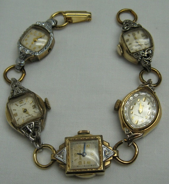 Vintage watches bracelet with Art Deco center watch and diamond, one-of-a-kind by Fleurdelis123