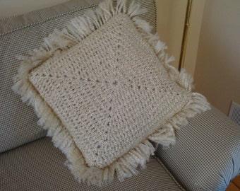 Hand Crochet Lt. Tan Pillow