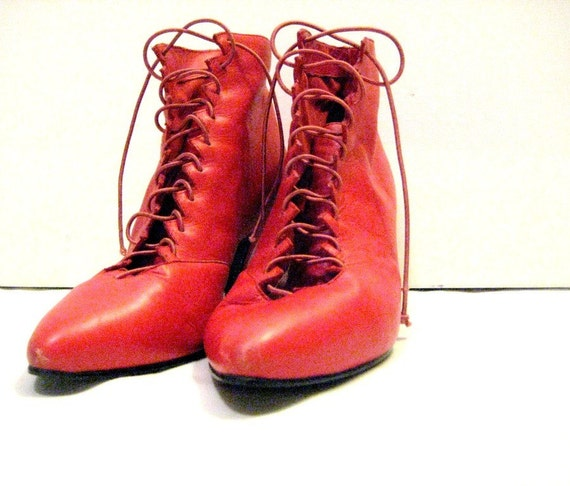 West Red Lace-Up Ankle Boots