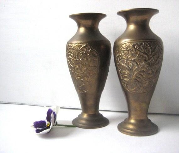Heavy Vintage Brass Vases