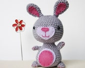 Cute Crochet and Felt Rabbit - Grey/Purple