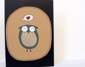 Heart Grey Owl with Fabric Card - Handmade - Blank