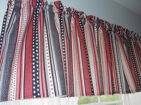 Stars And Stripes Valance Red White Blue By Chriscrafts2010