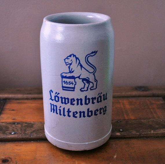Vintage Lowenbrau Miltenberg German Stoneware Stein (1L)