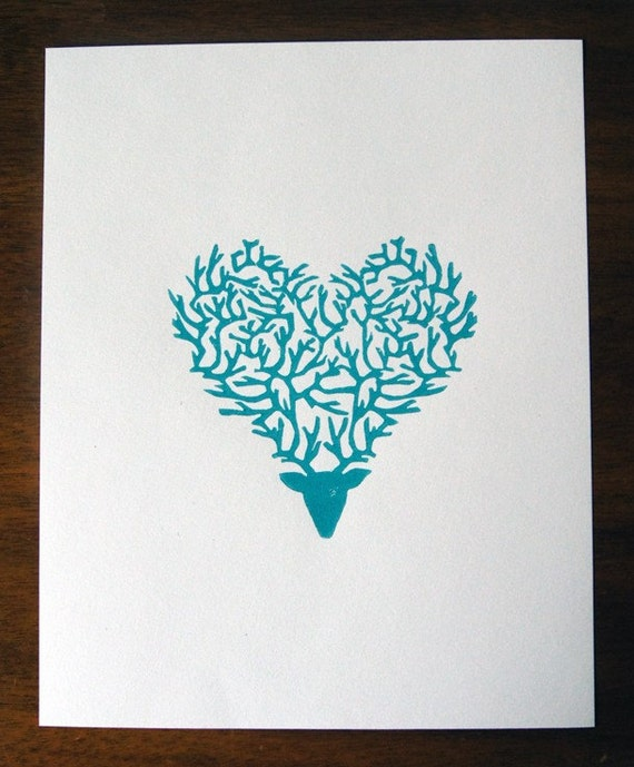 DEERest Heart (print available in red, teal and purple)
