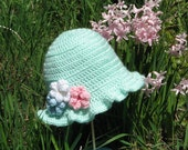 "Crochet PATTERN PDF Girls Hat 3 Months to 10 Years ""Flower Garden"""