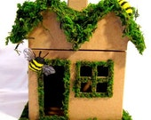 Custom Bumblebee Moss Cottage Hand-Painted Paper Mache House