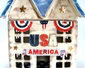 USA  America Red White and Blue - Hand-Painted Paper Mache House