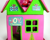 Brightly Colored Modern Christmas Owl House - Hand-Painted Decorative Paper Mache