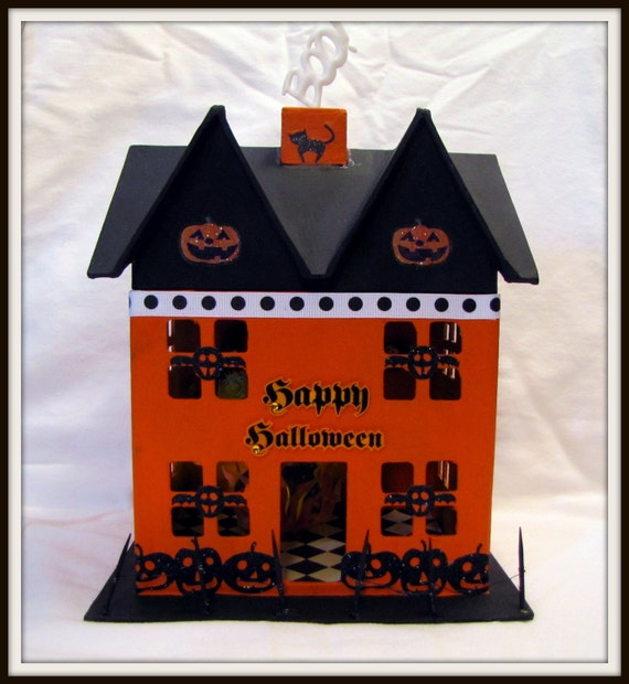 Happy Halloween LIGHTED House - Hand-Painted Decorative Paper Mache
