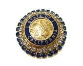 Vintage Brooch Pin Enamel and Rhinestone State of California Seal Vintage