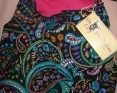SALE  -  Large REVERSABLE pet dress in black & multi-colored paisley print - dd05