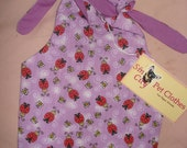 SALE  -  Medium REVERSABLE pet dress in purple with red lady bugs - dd04