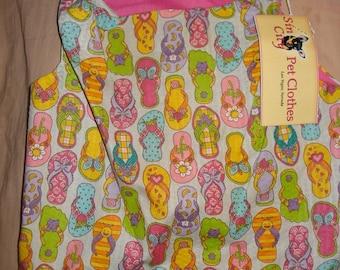 SALE - Large REVERSABLE pet dress in colorful flip flop shoe print fabric - dd05
