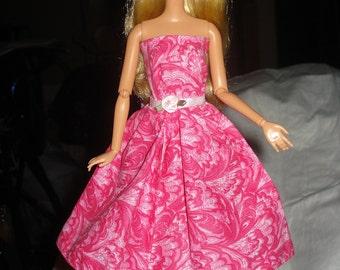Bright pink swirl print semi-formal dress for Fashion Dolls - ed127