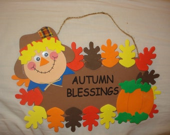 Handmade Autumn Blessings hanging wall sign - X43