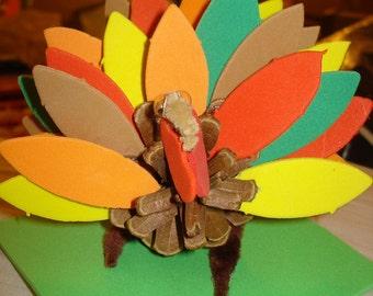 Handmade pine cone turkey with craft foam feathers - x44