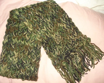 Hand loomed warm scarf in Army camoflage green colors  -  sc04c