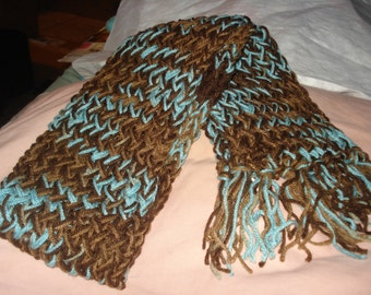 Handmade loomed warm scarf in baby blue, tan and brown - sc04a
