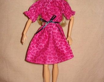 Handmade easy on hot pink Leopard print peasant dress for Fashion Dolls - ed215