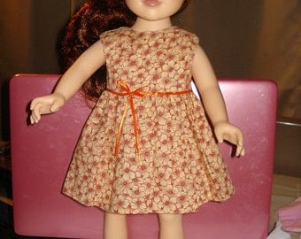 Sleeveless orange floral full dress with trim for 18 inch Dolls - AG58