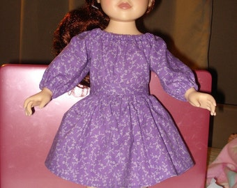Purple floral skirt & peasant top set for 18 inch Dolls - ag57