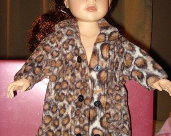 Leopard print furry fleece coat for 18 inch Dolls - ag56