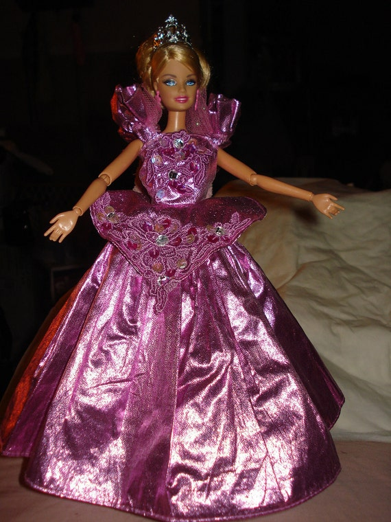 Shiny pink formal with rhinestones & a crown for Barbie Doll - ed142