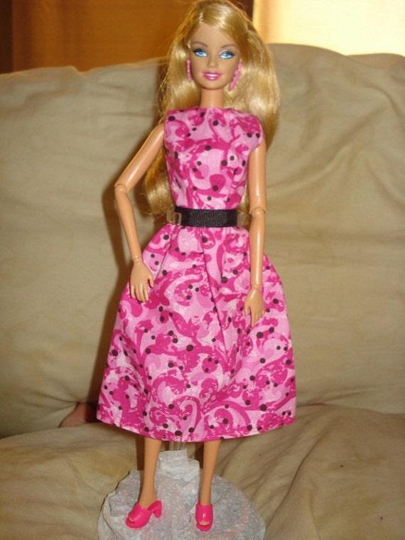 Handmade modest hot pink swirl & black dot dress for Barbie Dolls - ed191