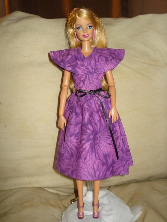 SALE - Handmade purple wrap dress for Barbie Doll - ed187