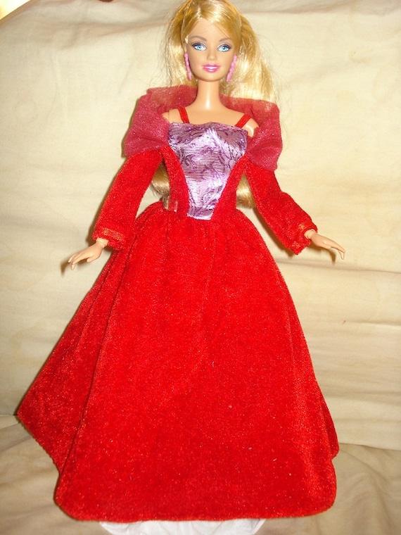 Beautiful red velvet formal dress for Barbie Dolls - ed198