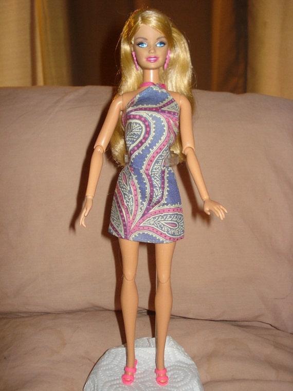 Handmade purple & pink paisley top and skirt set for Barbie Dolls - ed213