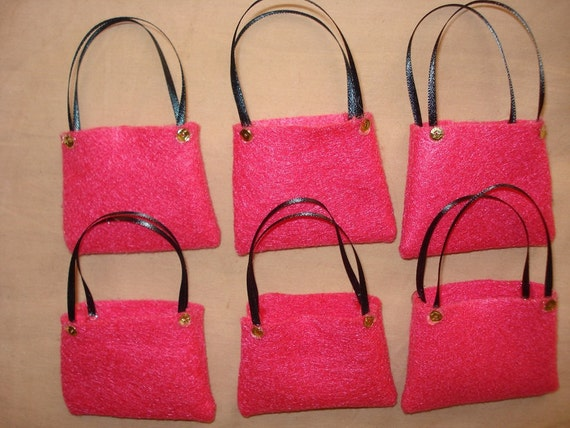 PARTY FAVOR - 6 Fashion Doll sized tote bags - bpf6