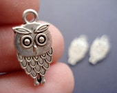 100 Wholesale Bulk Owl Antiqued Silver Tone Charms Pendant Drops (double side) 15x9mm SB227
