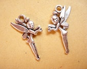 100 Bulk Fairy Antiqued Silver Pendant Charms Drop 25x14mm B681