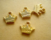 100pcs - Wholesale Bulk Princess Crown Charm Drops Antiqued Gold Tone 12x10mm SB-55
