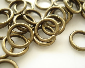 50pcs  Antiqued Bronze 1.2x 8mm Jump rings A12