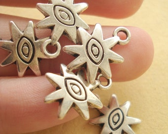 20pcs Antiqued Pewter SUN Charms-Finding(Double Side) SB215