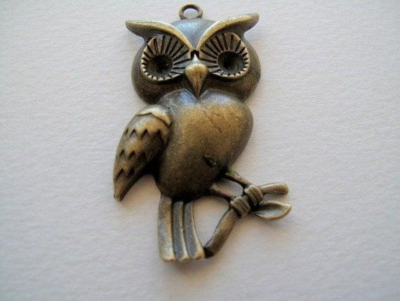 OWL(57x30mm) Charms/ Pendant /Antiqued Bronze  1Pc B270