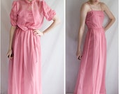 70s - southern belle - bell of the family reunion -  maxi floor length pink dress - spaghetti strap with matching sheer blouse jacket - size small