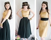 DEAL of the day - 50s - Solid Gold - metallic gold threaded lame or lurex cocktail wiggle dress - size s